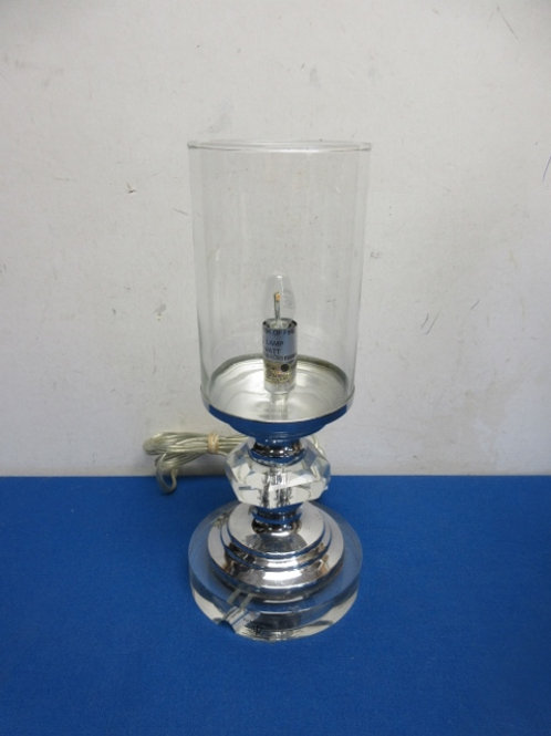 """Single light with silver and glass base and glass shade, 12"""" high"""