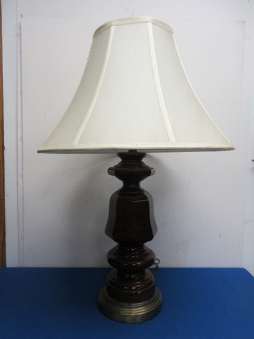 Dark tone wooden table lamp with white shade, 2 available