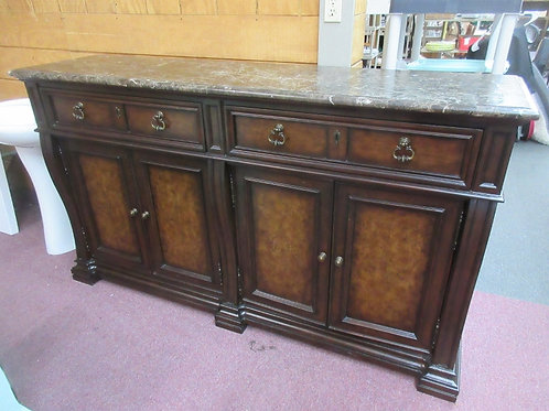 Stanley tall heavy ornate marble top ornate server with drawer& door storage