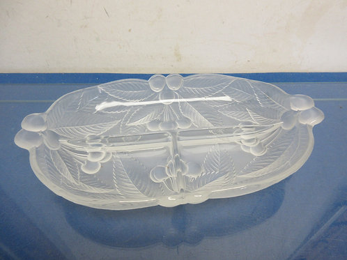 """Mikasa frosted glass relish tray with dividers, 12"""" long"""