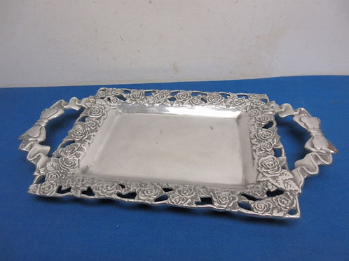 Aluminum ornate tray with handles