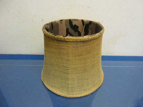 "Burlap shade w/animal print interior, 7""high"