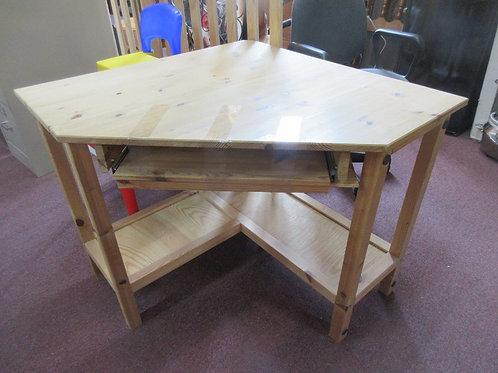 "Natural pine corner desk with keyboard shelf and bottom storage, 35x35x30"""