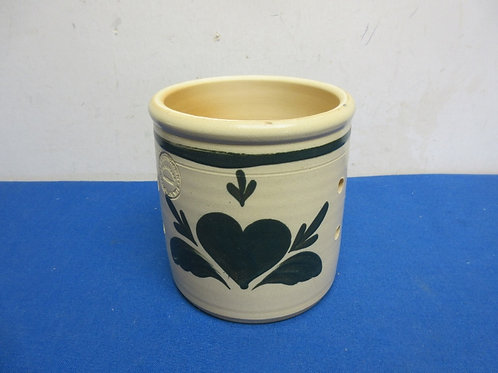 Country crock candle holder with vent holes, heart design