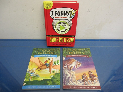 Set of 3 chapter books, 2 magic treehouse books and a James Patterson book