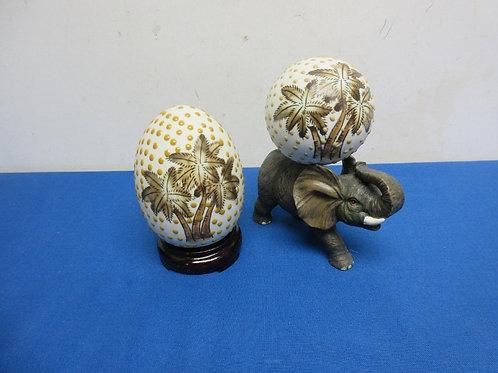 Handpainted palm tree design items - egg shape on wood stand & sphere w/elephant