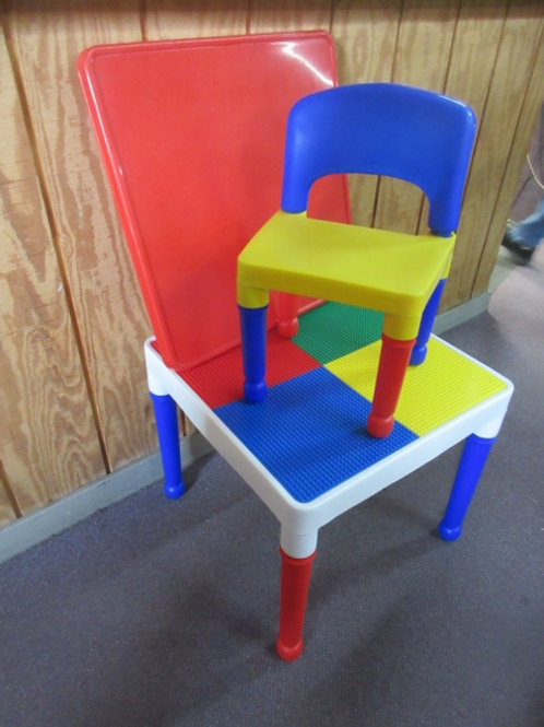 Regular lego building table w/one chair and a regular table top