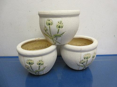 """Set of 3 ceramic planters w/floral décor, Ea 6""""dia x 5""""high"""