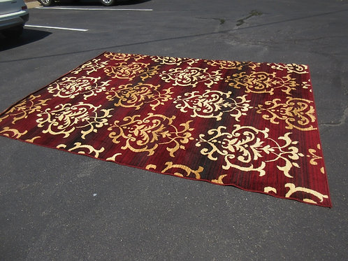 "Dallas burgundy and tan area rug - 7'10x10'6"""