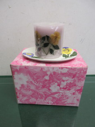 Avon China oval candle plate, floral design w/pillar candle, new in box