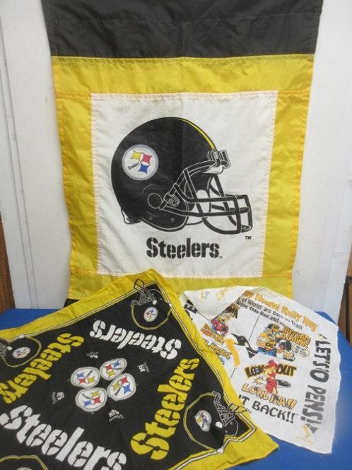 Pittsburgh Steeler 3 pc set - flag and 2 hankerchiefs