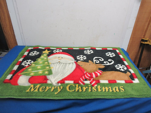 """Merry Christmas"" rubber back throw rug-green 30x20"