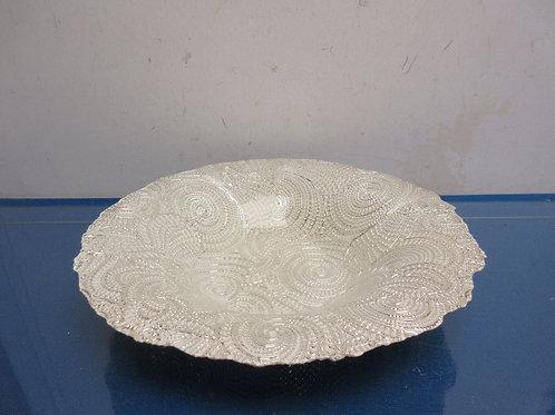 White and silver swirl design bowl with design
