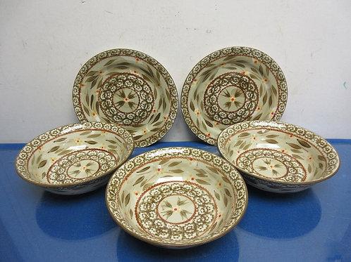 Temptations Old World brown-5pc set-3bowls, 2 dessert plates