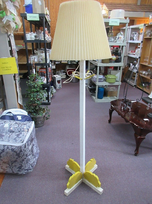 Childrens room wooden floor lamp/coat tree with yellow bunnies on the base