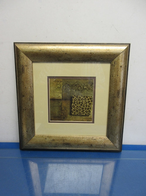 Leopard pattern print with ivory mat and wide gold frame 14x14""