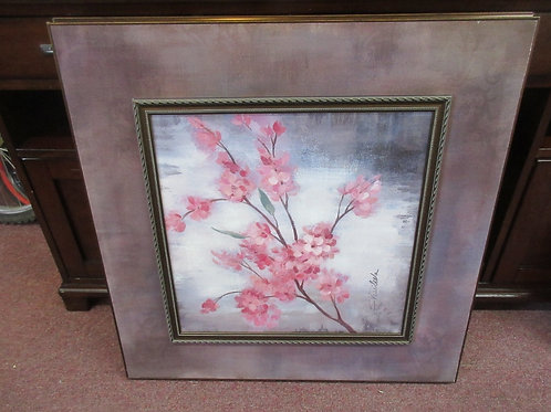 Pink apple blossom print mounted on wood frame 29x29