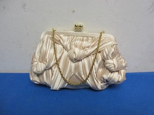Small beige satin evening purse