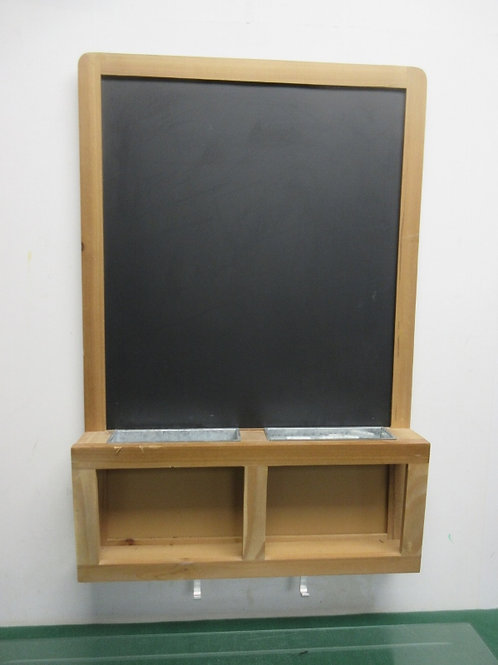 Wood frame blackboard with galvanized chalk holders, tray & hooks, 19x29