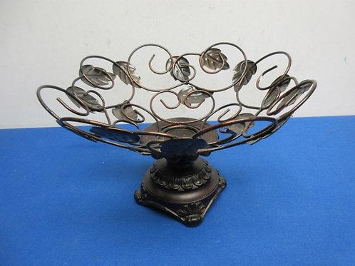 """Metal fruit bowl on resin pedestal base, 11""""dia. X 7"""" high"""