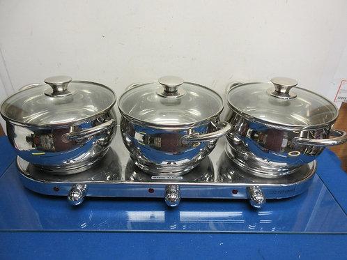 Infusion Collection 7pc stainless triple burner buffet set w/3qt. pots