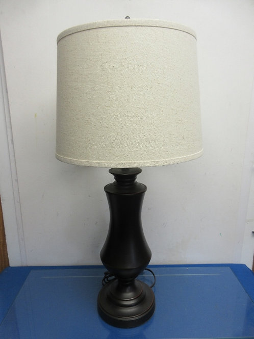 """Espresso base large 3 way table lamp with ivory shade 30"""" high"""