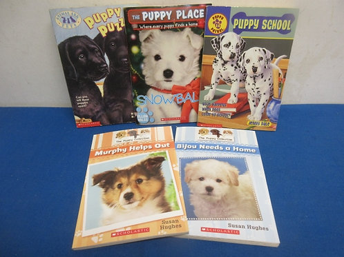 Group of 5 scholastic books about puppies