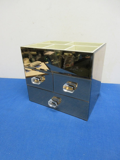 Beveled mirror jewelry box, has 3 drawers and 5 top compartments, 6x9x8