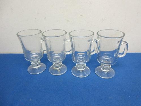 Set of 4 glass pedestal drinking mugs