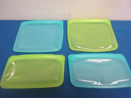 Set of 4 stasher reusable silicone food bags, one small step to a cleaner enviro