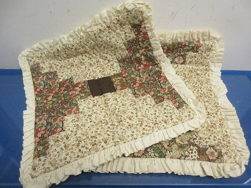 Pair of handmade quilt brown decorative pillow covers - 13x13