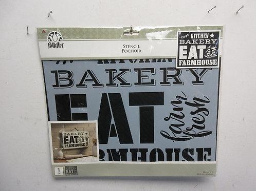 """Folk Art stencil set-""""Kitchen, bakery, eat, farmhouse"""", new in package"""