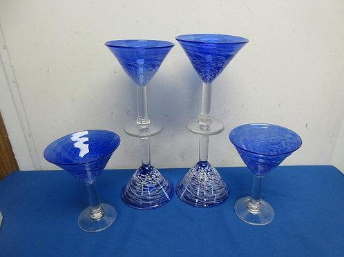 Set of 6 large blue martini glasses