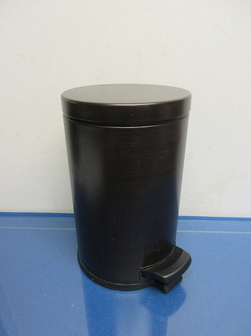 """Black small metal and plastic step to open waste basket, has rigid liner, 12""""hig"""