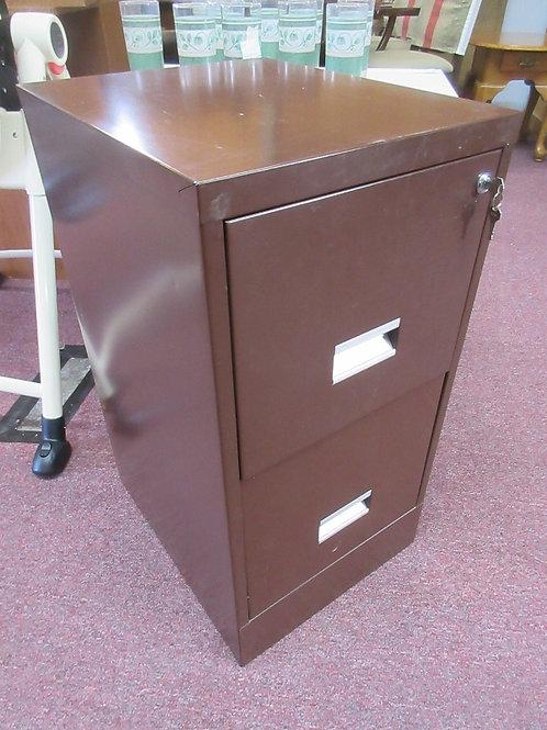Brown metal 2 drawer locking file cabinet w/2 keys
