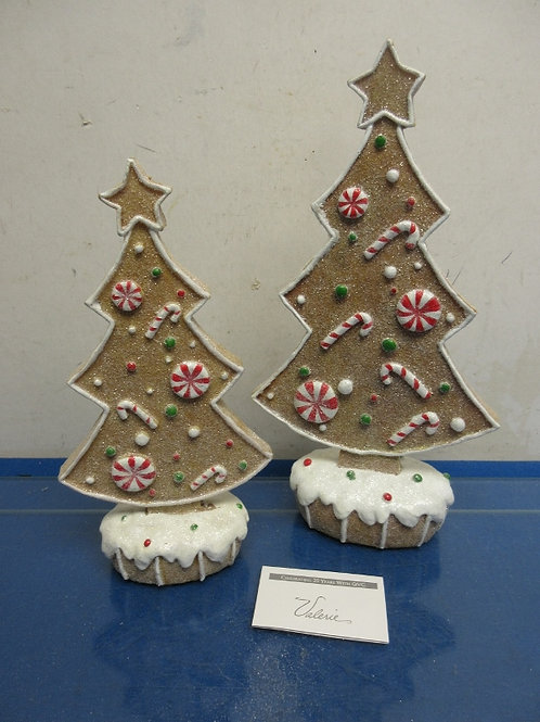 Valerie Parr set of 2 gingerbread silhouette trees - brand new