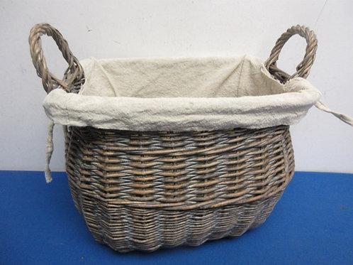 "Rectangular wicker basket with linen liner and handles, 7x11x9"" high"