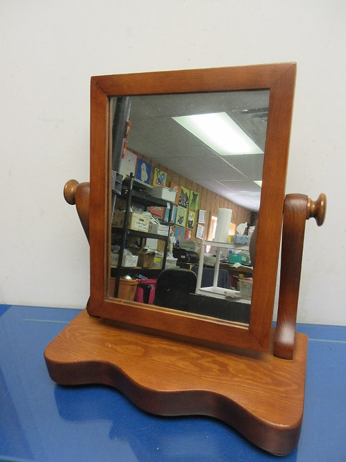 Solid cherry table top wood framed swivel mirror