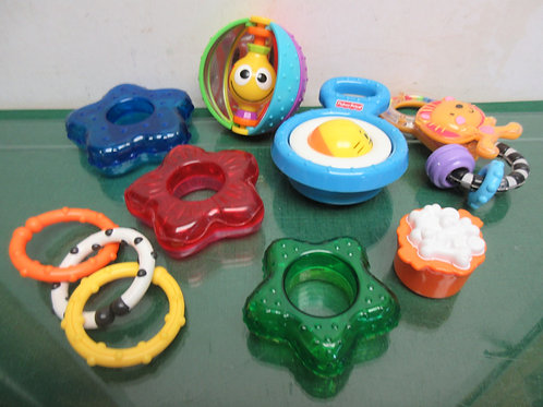 Assortment of Fisher Price toys and tiny love rattles for infants, 8 items