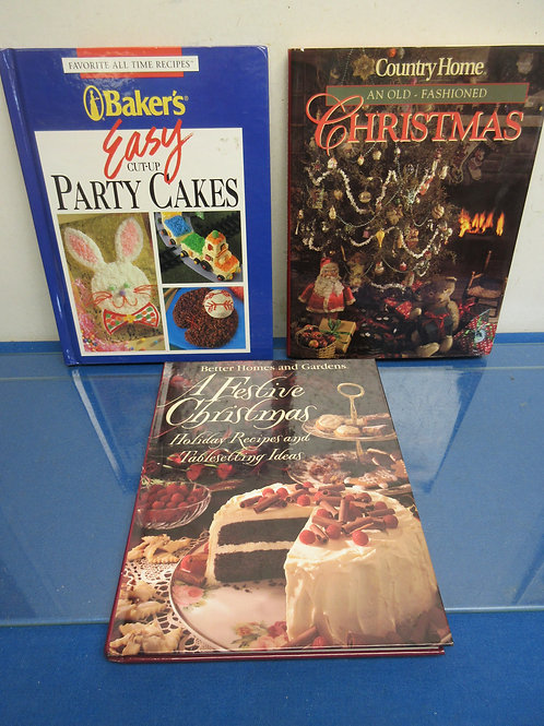 Set of 3 cookbooks-2 holiday recipes and bakers party cakes