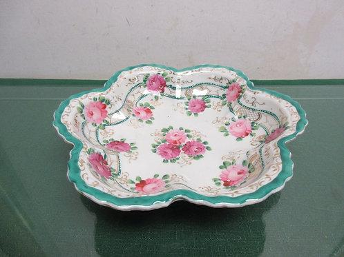 "Vintage decorative wavy edge serving bowl, pink flower design 9.5"" dia"