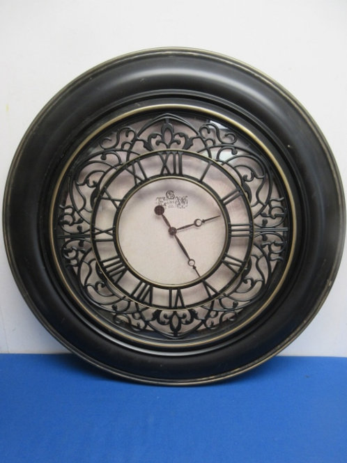"""Large wall clock with roman numerals, 26"""" dia"""