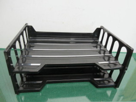 "Set of 2 Eldon black plastic desk top in-boxes, 9x13"""