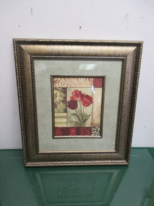 Red tulip print with wallpaper style mat and wide ornate gold frame