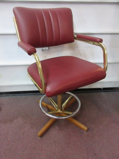 """Chromcraft burgundy composit leather counter height stool with arms, seat/25"""" hi"""