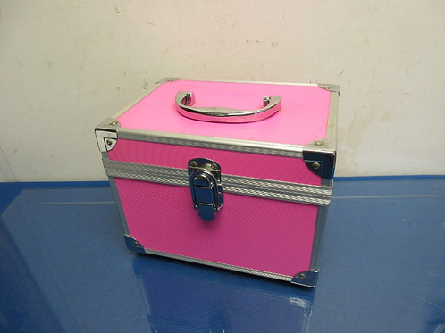 Small pink hard sided case with mirror on lid