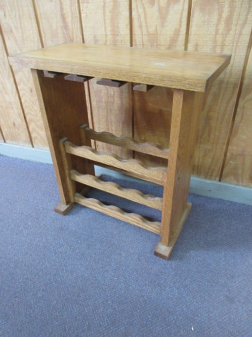 Handmade solid oak wine floor stand, hold 12 bottles and glasses