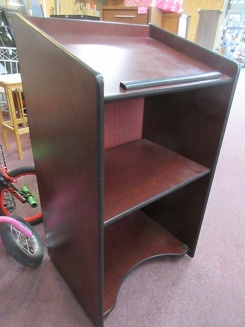 Cherry tone formica podium on wheels with 2 back shelves - 20x25x46