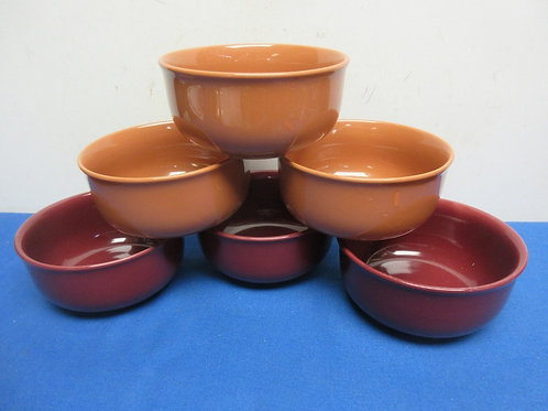 Set of 6 Royal Norfolk soup or cereal bowls - 3 burgundy and 3 rust