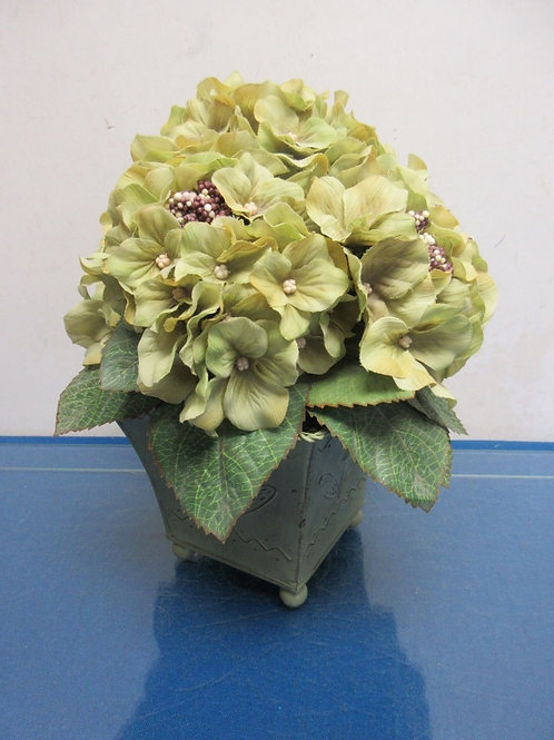 """Green metal vase with green artificial flowers, 11"""" high"""